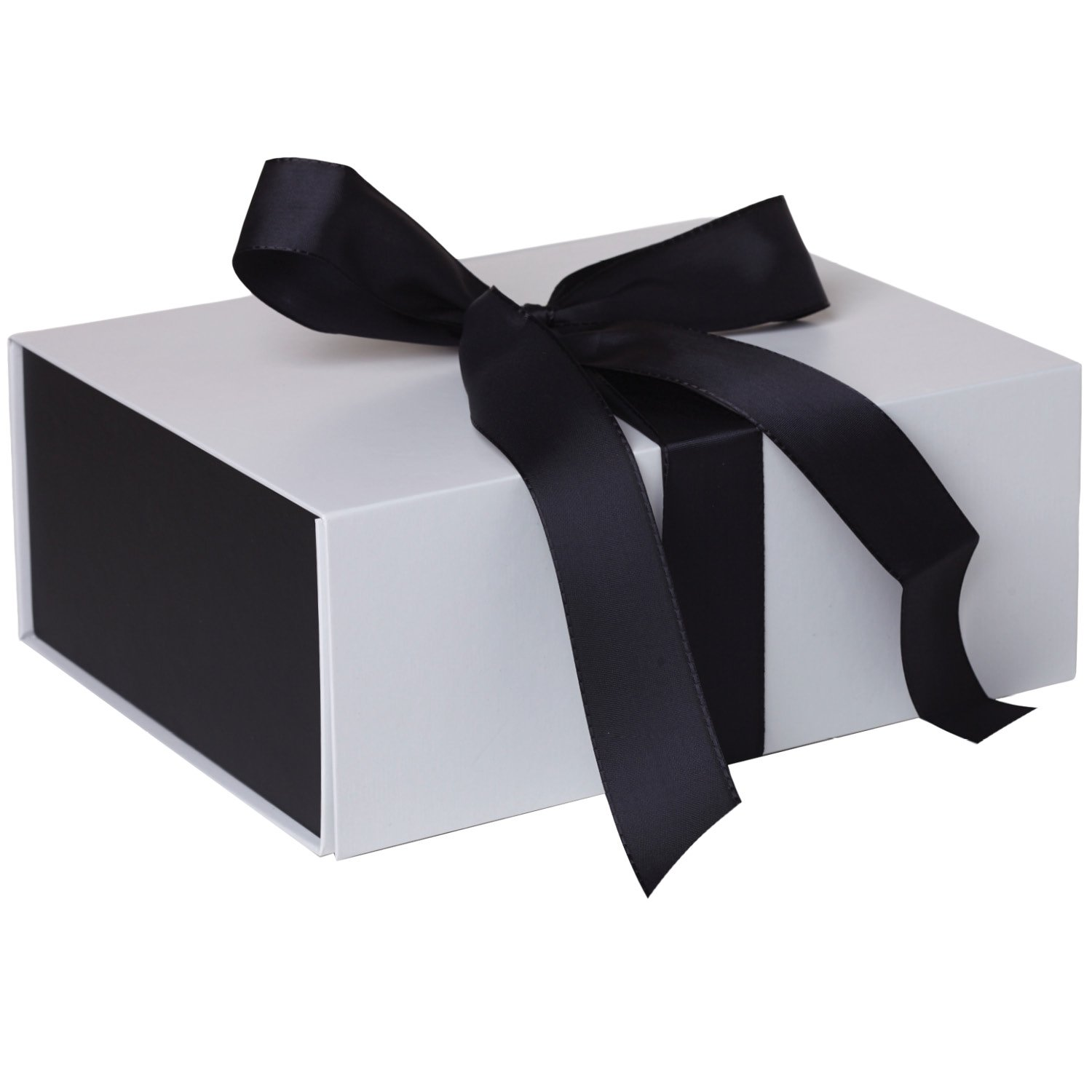 Jillson Roberts 36-Count Medium Ribbon-Tie Gift Boxes Available in 4 Colors, White Matte with Black Ribbon by Jillson Roberts