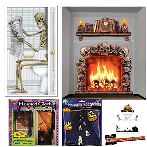 Haunted House Decoration Kit Halloween Set Skeleton Door Skull Fireplace Mantle Wall Props Glow in the Dark Footprints Haunted Creepy Cloth Warning Tape Idea Guide Bundle (20 (Haunted House Prop Ideas)