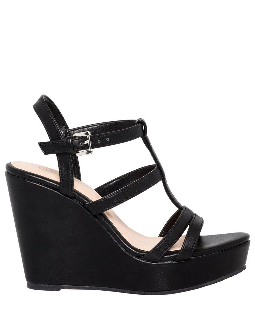 LE CHÂTEAU Women's Gladiator Wedge Sandal,7,Black
