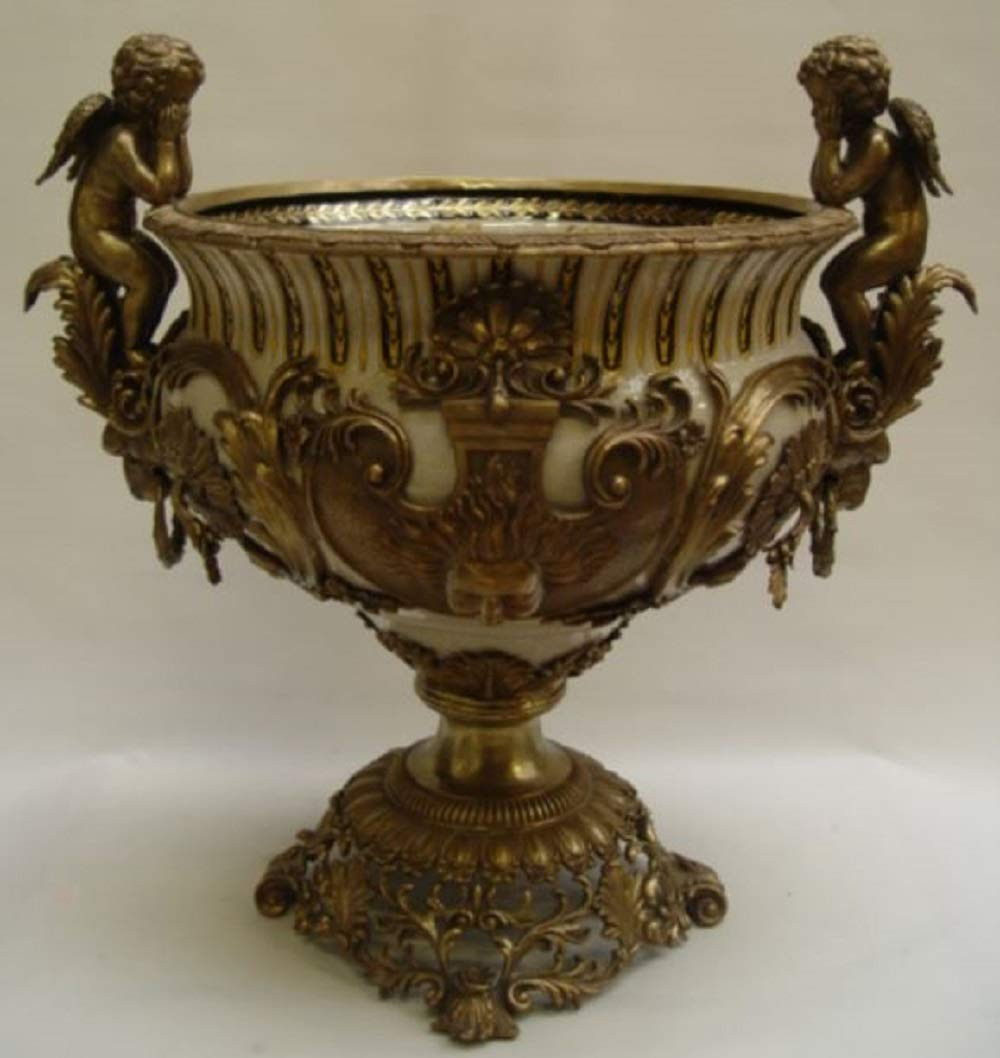 Casa-Padrino Baroque Plant Pot Antique Brass//Multicolor H Magnificent Flower Pot 60 cm