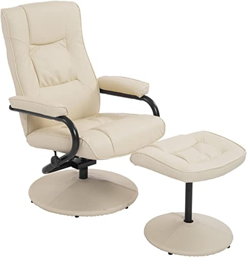 HOMCOM Ergonomic Faux Leather Lounge Armchair Recliner and Ottoman Set
