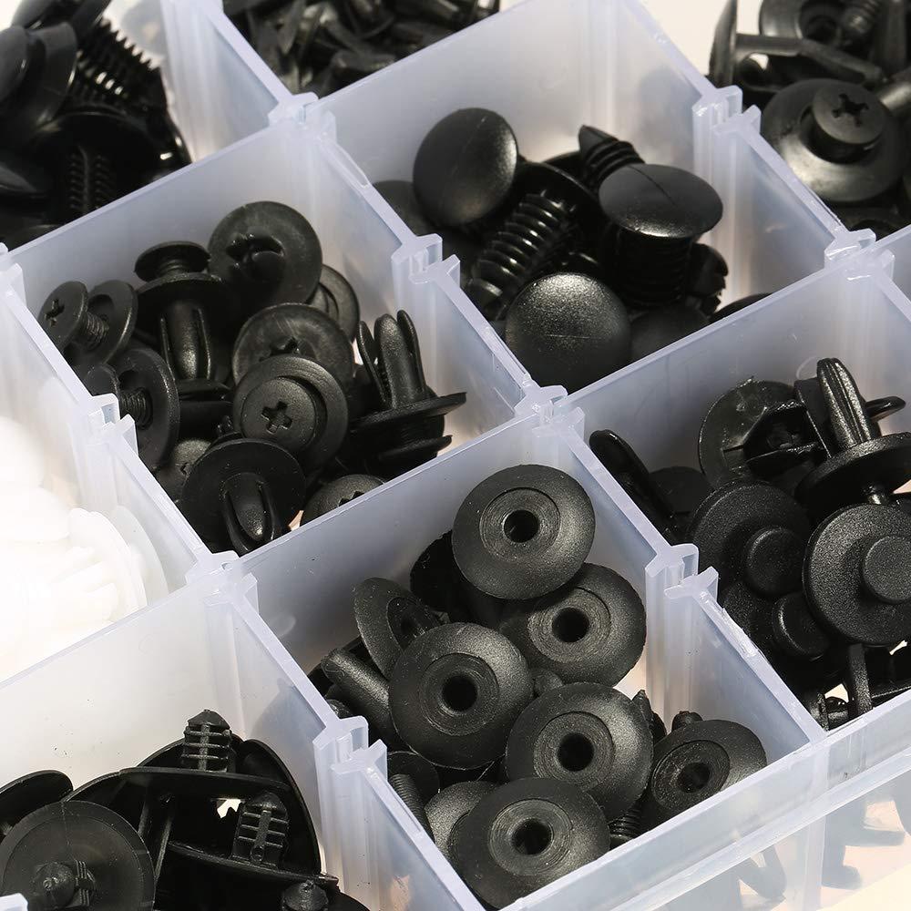 KKmoon 425Pcs Car Body Retainer Clips,Car Trim Fasteners Clips,Plastic Car Push Pin Rivet Universal Body Moulding Clip with Plastic Box