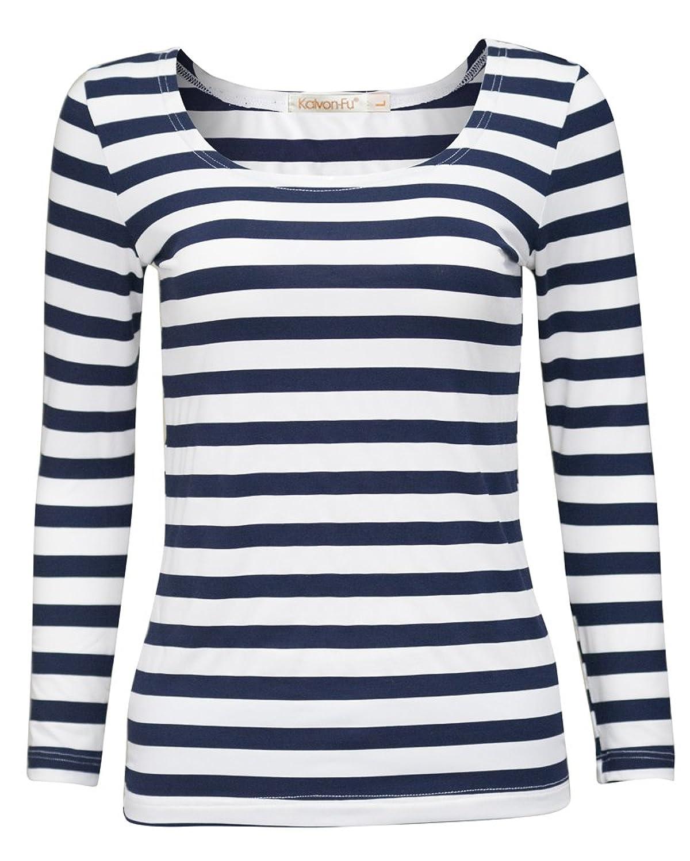6932784fd0 Online Cheap wholesale KalvonFu Womens Rayon Striped White Black Long  Sleeve T-Shirt Blouse Knits & Tees Suppliers
