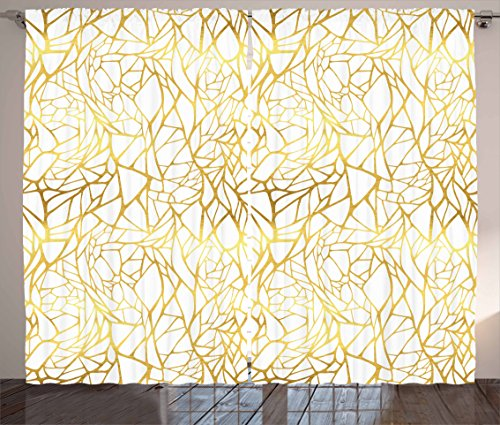 Ambesonne Contemporary Curtains, Abstract Ornament Exotic Animal Pattern Style Feminine Glamor Print, Living Room Bedroom Window Drapes 2 Panel Set, 108 W X 108 L inches, Gold Yellow and White by Ambesonne