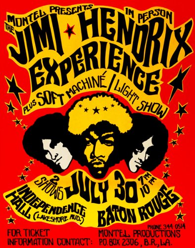 Jimi Hendrix Experience - 1968 - Independence Hall - Baton Rouge Concert Poster