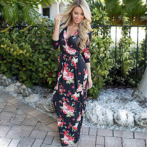 separation shoes 5ccd0 f9056 Baño l Media De Floral Lbfkj Elegante Con En Falda Vestido Ropa V Verano  Manga Casual ...