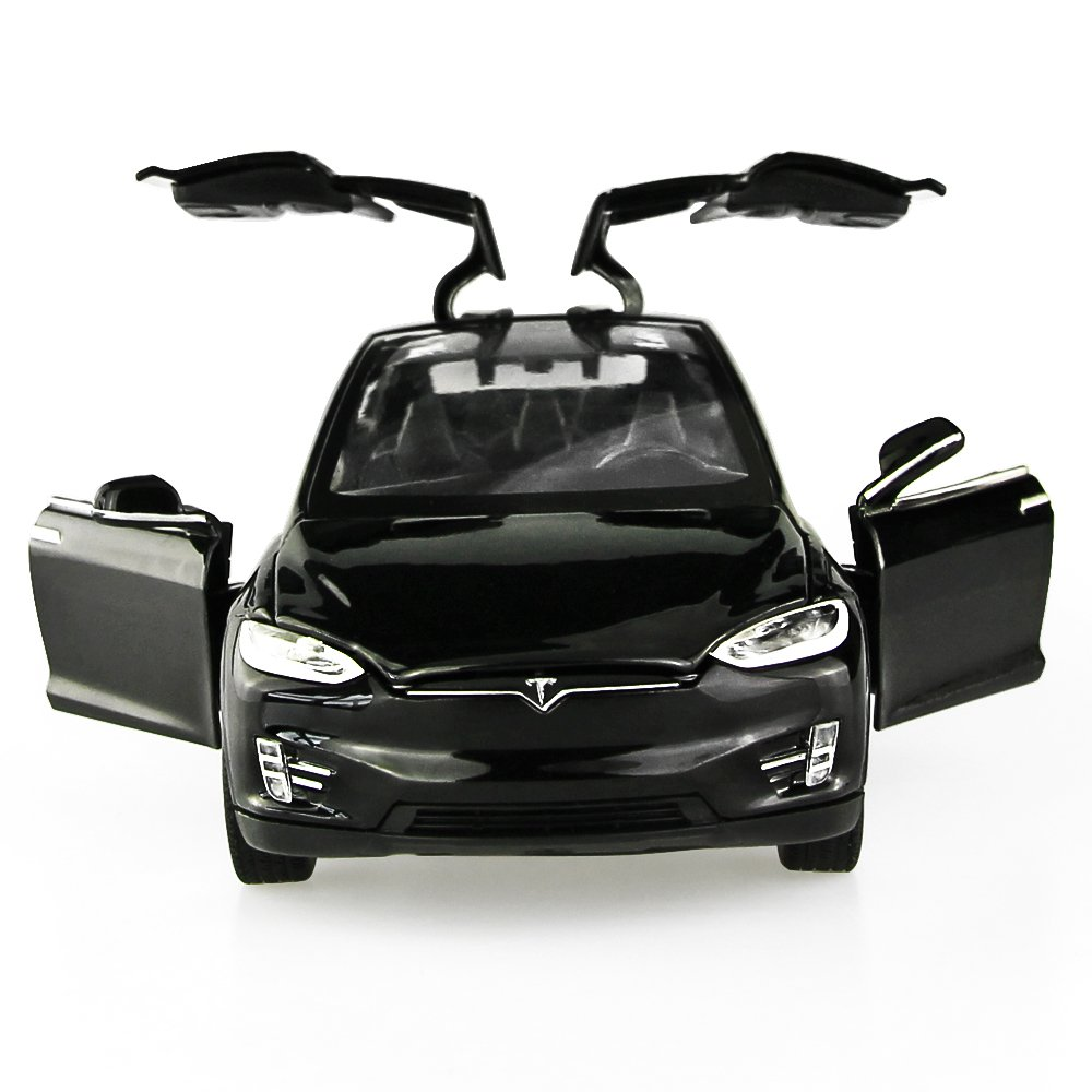 Diecast Vehicle Alloy Tesla toy car model X 90 Pull Back toy cars with Sound&light Toy Kids Toys 1/32 Scale (BLACK)