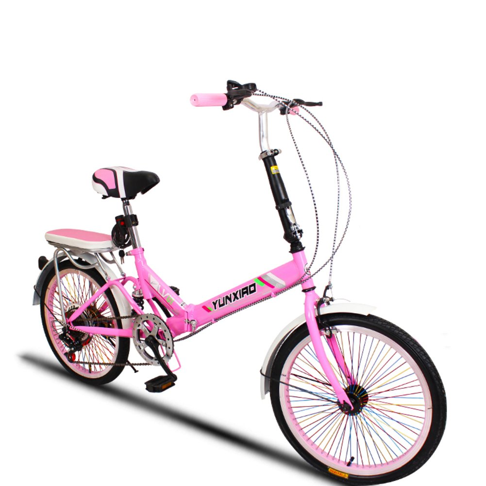 学生折りたたみ自転車, 折りたたみ自転車 女性のサイクリング 超軽量 ポータブル ミニ 男性 折り畳み自転車 B07DFF5VDW 20inch|ピンクC ピンクC 20inch