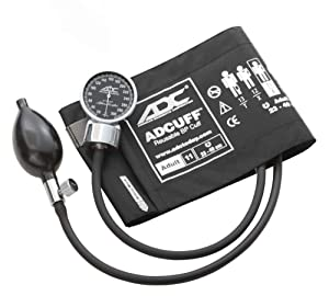 ADC Diagnostix 700 Pocket Aneroid Sphygmomanometer with Adcuff Nylon Blood Pressure Cuff, Adult, Black