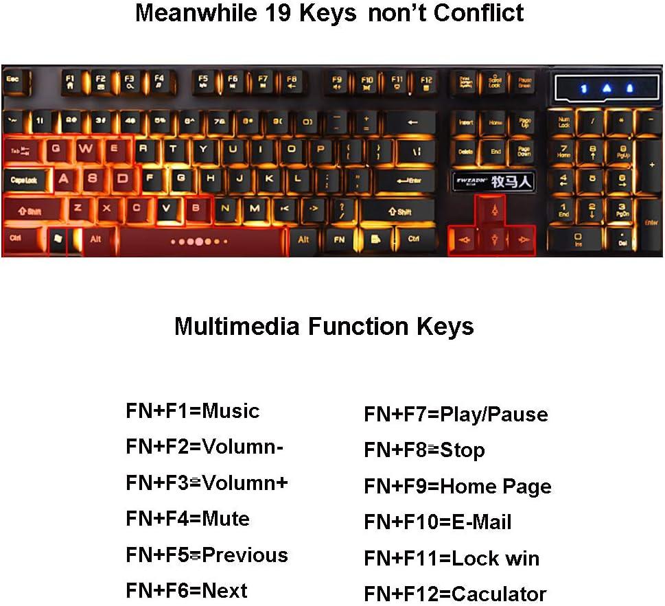 Guanwen Mechanical Feel Gaming Keyboard,Orange Backlight Water Resistant Multimedia Ergonomic USB Wired Game Keyboard for PC Laptop//Computer Win10//7//8
