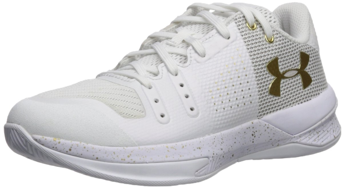 Under Armour Women's Block City Volleyball Shoe, White (100)/Metallic Gold, 6