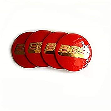 fanlinxin BBS - Juego de 4 embellecedores centrales Rojos y Dorados para Coches de 60 mm