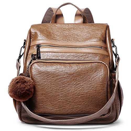 Backpack Purse for Women PU Leather Fashion Large Travel Detachable Covertible Ladies Shoulder Bag brown by Cluci