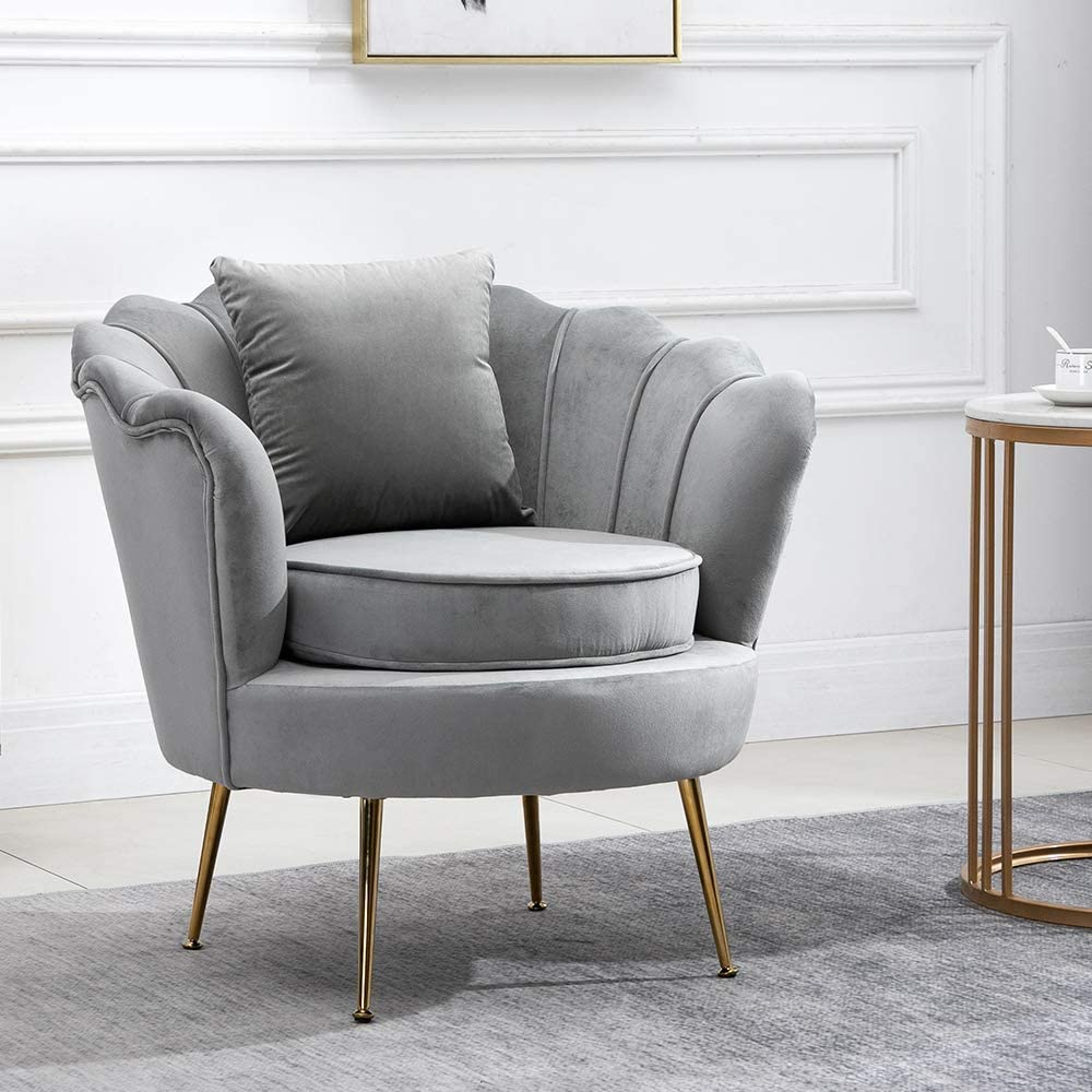 Ansley&HosHo Accent Tub Chairs Grey Velvet for Living Room Bedroom Lounge  Single Wingback Sofa Side Armchair with Upholstered Cushion and Pillow