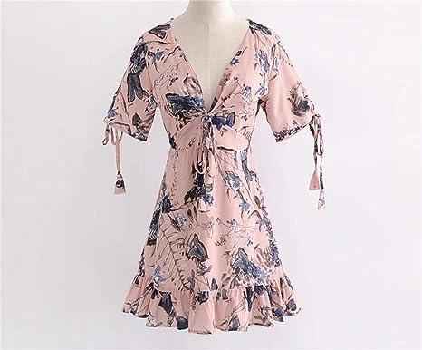 SDCXV Bonito Vestido con cuello en V Vestido de manga corta Vestido con cordones Vestido estampado Vestido con vuelo grande Confortable: Amazon.es: Ropa y ...
