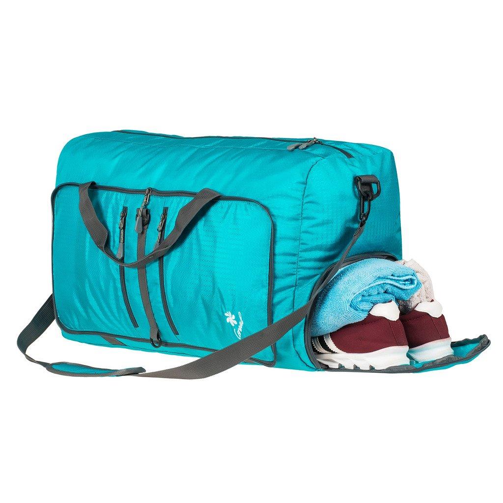 Coreal 60L 折り畳み式旅行バッグ/ジム用スポーツバッグ 靴コンパートメント付き B01NCHKR0Q  ターコイズ