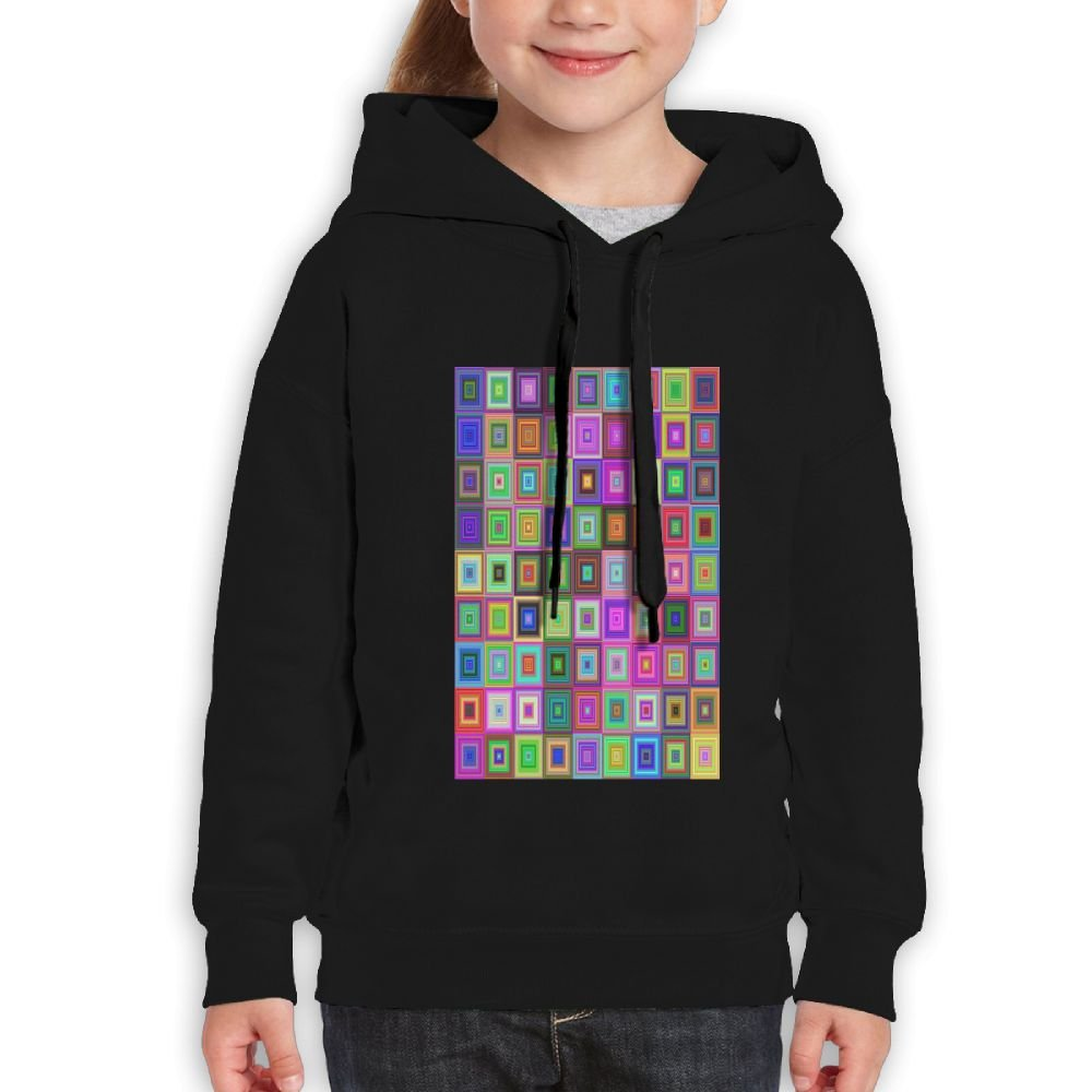 GLSEY Square Art colorful Design Youth Soft Casual Long-Sleeved Hoodies Sweatshirts