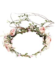 OULII Women Flower Crown Headband Rose Halo Wreath Wedding Bridal Hair Garland