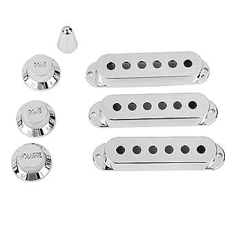 OULII Cubiertas para Guitarra Pastillas Pickup y Perilla de Volumen Tono y Interruptor Punta para Fender Strat Stratocaster Guitarra Eléctrica 7 Piezas: ...