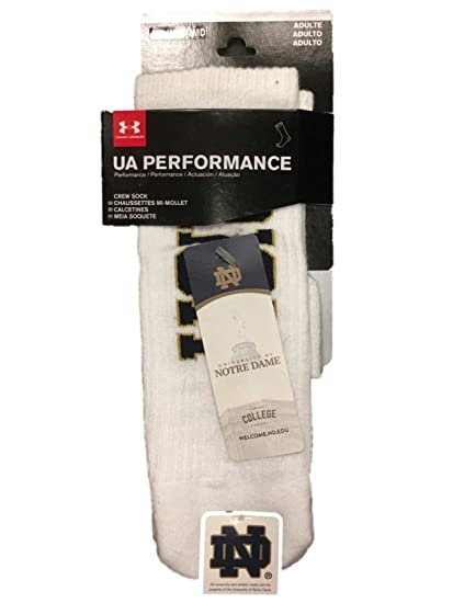 Notre Dame Fighting Irish Under Armour Performance Mens White Crew Socks ...