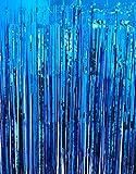 GOER 3.2 ft x 9.8 ft Metallic Tinsel Foil Fringe Curtains for Party Photo Backdrop Wedding Decor (2 Packs, Navy Blue)
