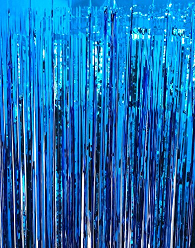 GOER 3.2 ft x 9.8 ft Metallic Tinsel Foil Fringe Curtains for Party Photo Backdrop Wedding Decor (Navy Blue,1 ()