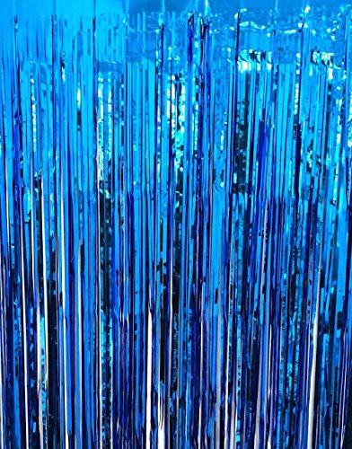 GOER 3.2 ft x 9.8 ft Metallic Tinsel Foil Fringe Curtains for Party Photo Backdrop Wedding Decor (Navy Blue,1 Pack)