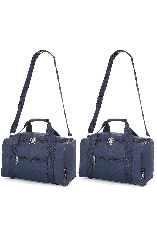 Set de Dos 14L bolsa de mano para Ryanair y Vueling 35x20x20 Tamaño Máximo Maletas de Cabina (Azul Marino)