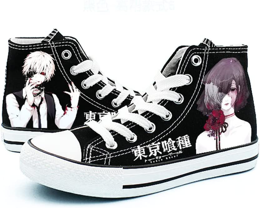 Telacos Tokyo Ghoul Kaneki Ken Cosplay Shoes Canvas Shoes Sneakers Black/White