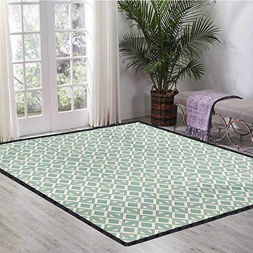 - Abstract, Area Rug Office, Triangles and Rhombuses Retro Style Arrangement Geometric Composition, Floor Mat Pattern 4x6 Ft Seafoam and Off White