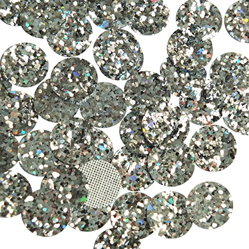 Glitter Disc - Silver Glitter Fabric 15mm Round Disc Super Sparkle No Hole Sew On Glue On