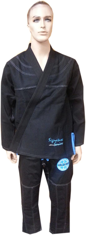 (4-A2) - Brazilian jiu jitsu Kimono Pearl Weave Gi competition Uniform woldorf usa with ripstop pant, 黒/青