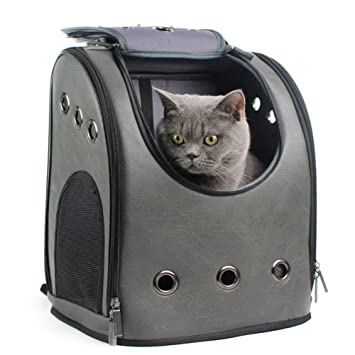 Mochila Para Mascotas Mochila De Viaje Para Cat Space Soft PU Superficie Transpirable Mesh Window Pet