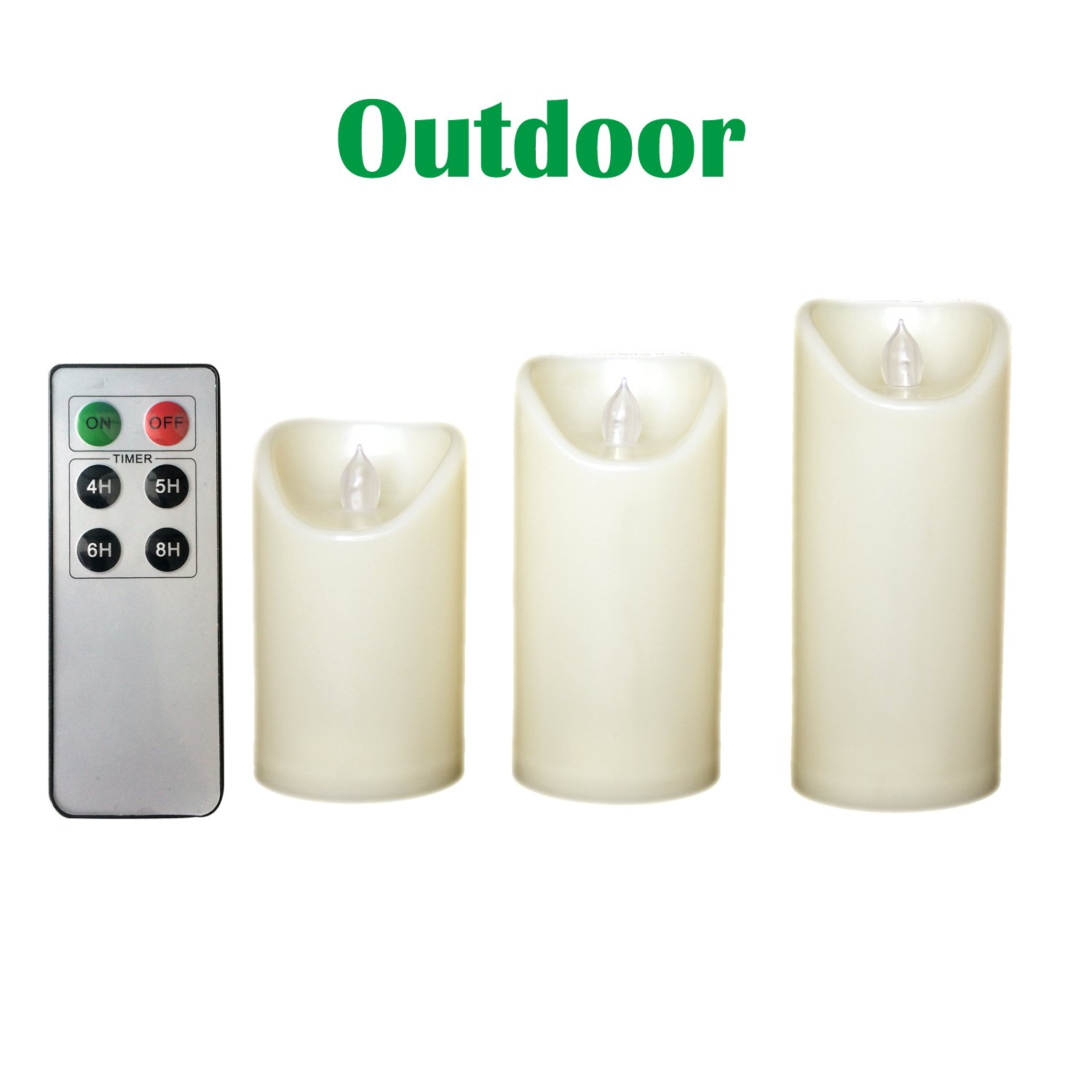 Candle Choice Set of 3 Outdoor Flameless Candles with Remote and Timer, LED Pillar Candles, Weatherproof Battery Operated Candles, Candles, Long Battery Life, Size 3''x5'', 6'', and 7'' by CANDLE CHOICE