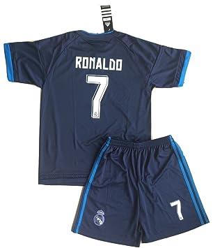 Camiseta con escudo del REAL MADRID RONALDO 7 del Fútbol Club Barcelona Color azul talla XXL 12-13 Age: Amazon.es: Deportes y aire libre