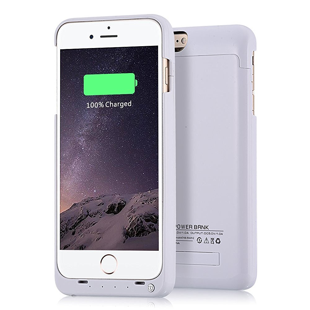 Battery Charger Case for Apple Iphone 6 Plus/Ihphone 6s plus 5.5 Inch 4000mah Battery Extender Case by ISAKO Built-in Media Holder Retail Package (White)