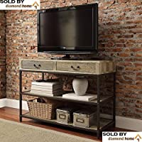Amazing Industrial Rustic Open Shelf Drawers Media Console or TV Stand. Stylish Wooden Design; the Perfect Addition to Any Living Room Space.