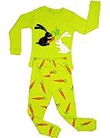 Elowel Girls Bunny Rabbit 2 Piece Kids Childrens Pajama Set 100% Cotton (6M-8Y)