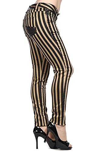 Vintage High Waisted Trousers, Sailor Pants, Jeans Banned Clothing - Steampunk Striped Skinny Jeans $16.54 AT vintagedancer.com