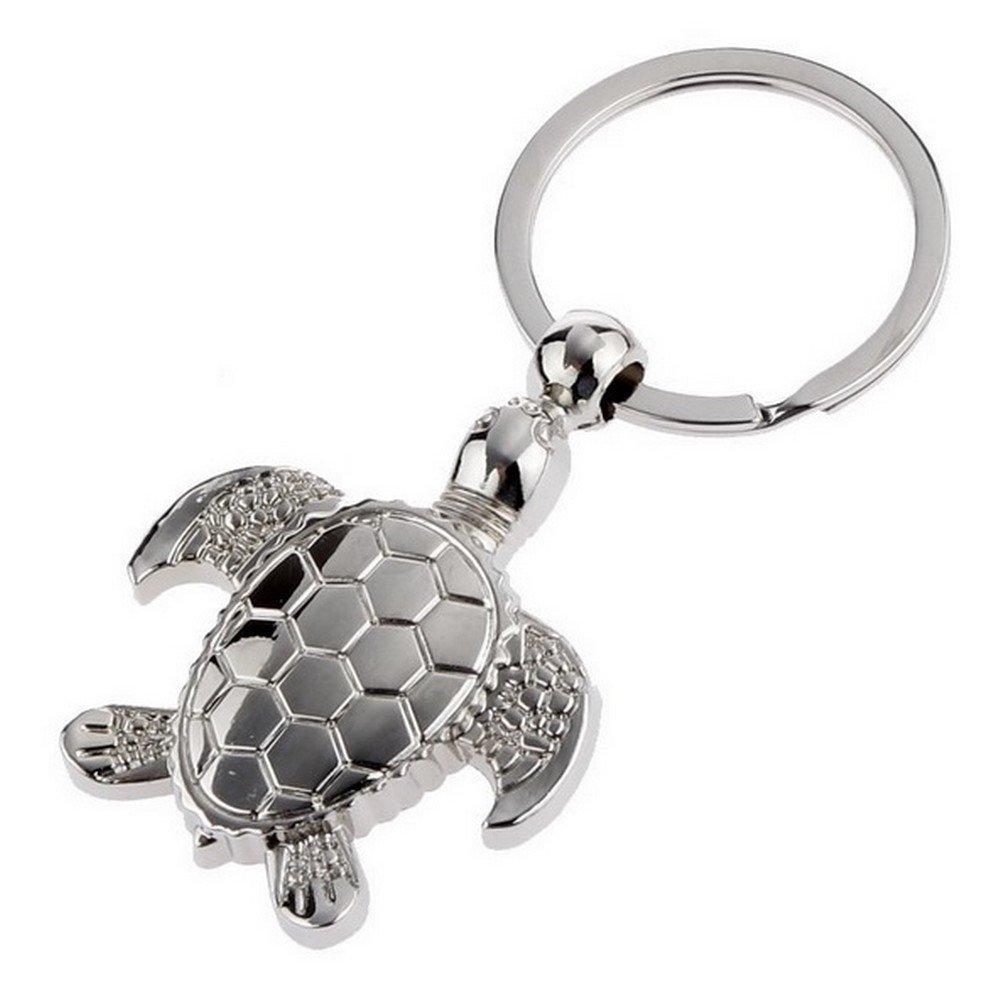 bijou de sac motif tortue en acier argent/é. Porte-cl/és