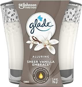 Glade Jar Candle Air Freshener, Sheer Vanilla Embrace, 3.4 oz