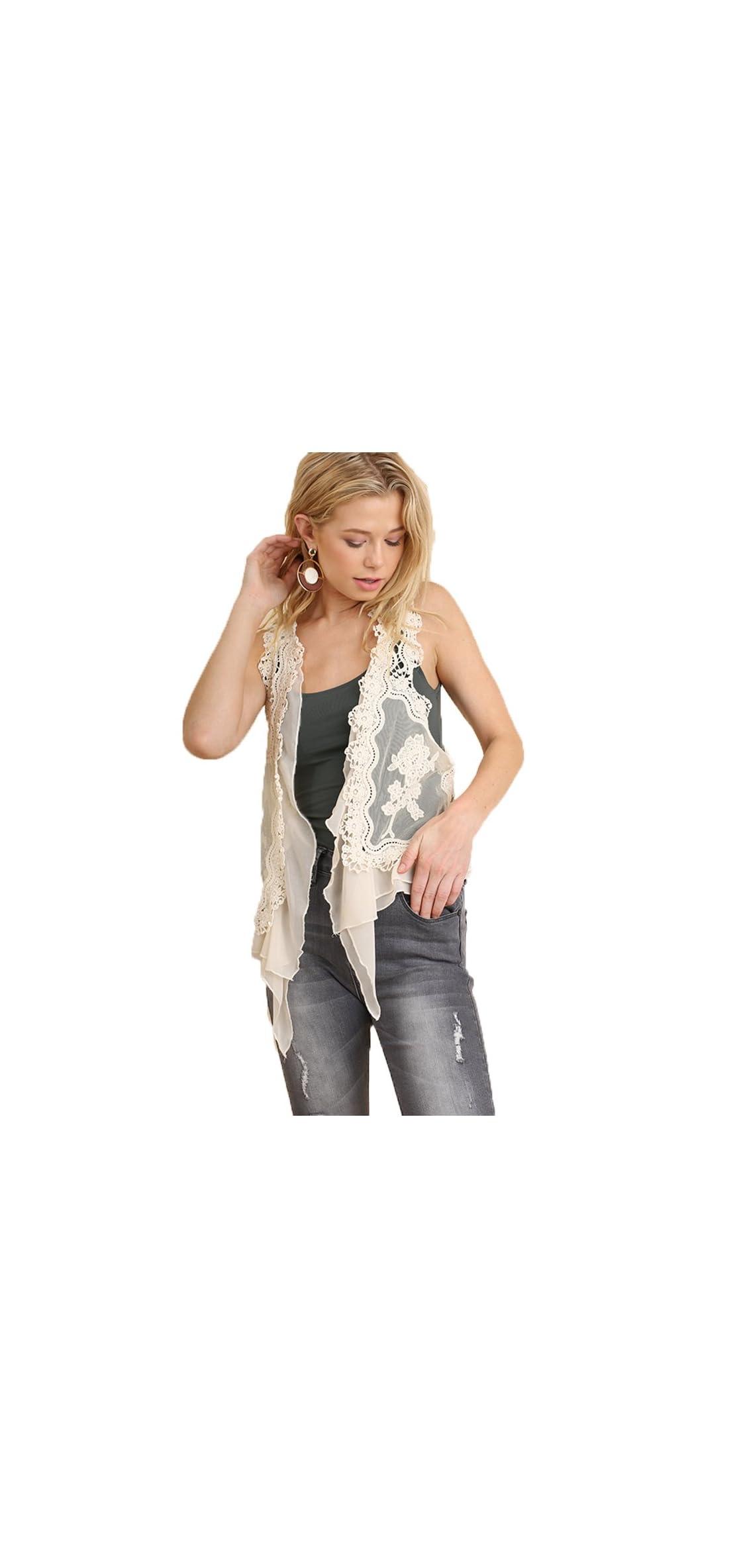 Women's Boho Style Lace Ruffle Crop Vest