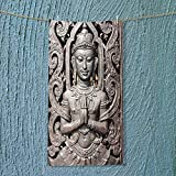 SOCOMIMI Super Absorbent Towel Collection Antique Buddha in Traditional Thai Art with Swirling Floral Patterns Carving Japanese Ideal for Everyday use
