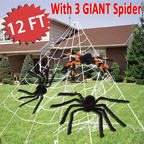 Halloween Decorations 12 FT Large Spider Web Stretch with 3 Giant Spider Pack for Outdoor Scary Cobweb Halloween Decor Indoor Window Door Walls Home Yard Haunted House Spooky Party Favors Supplies