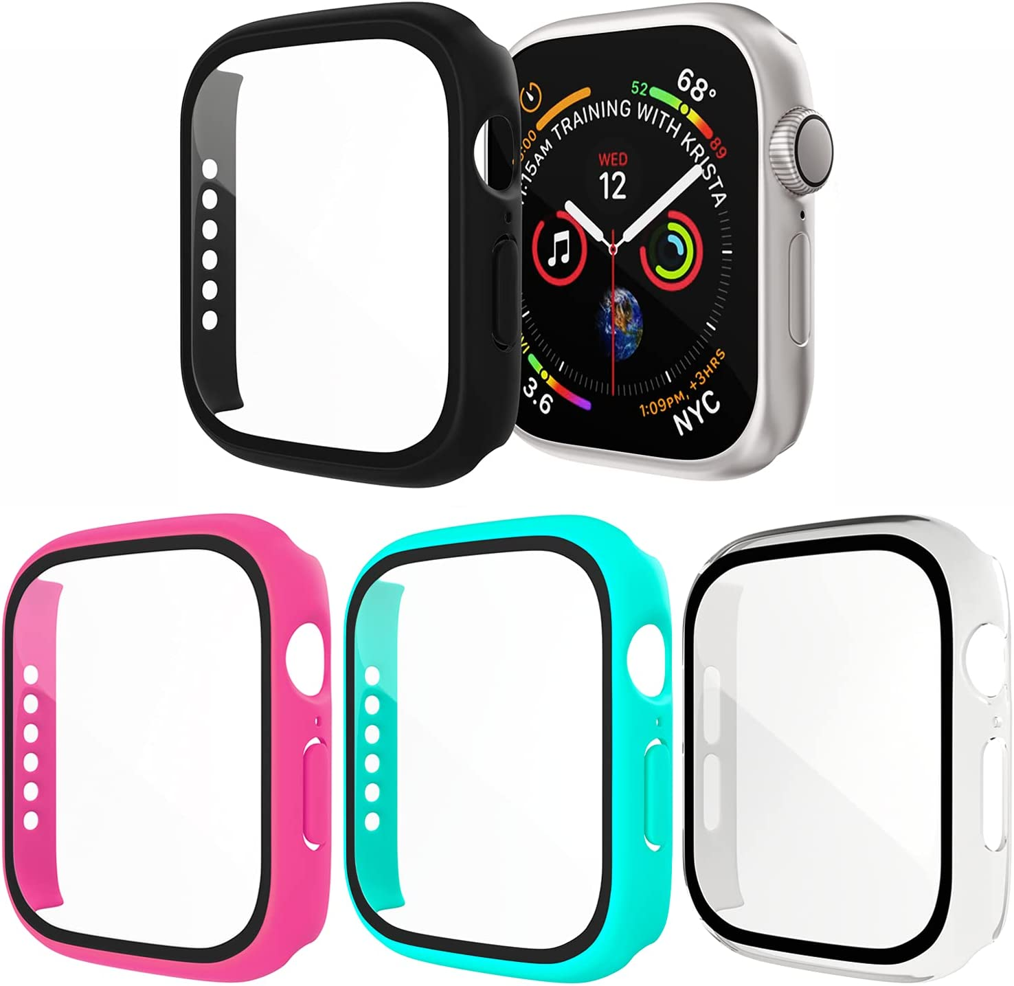 [4 Pack] Exclusives Compatible with Apple Watch 40mm Case, Full Coverage Bumper Protective Case with Screen Protector for Men Women iWatch Series 6/5/4/SE, Black, Clear, Hot Pink, Turquoise