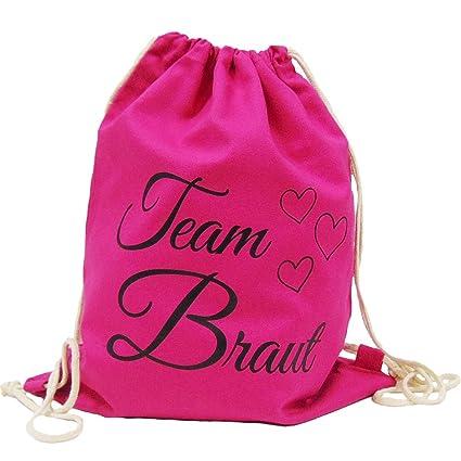 d0ee091cffb74 Partybob JGA Turnbeutel Ruckack Team Braut mit Herzen (Pink)  Amazon ...