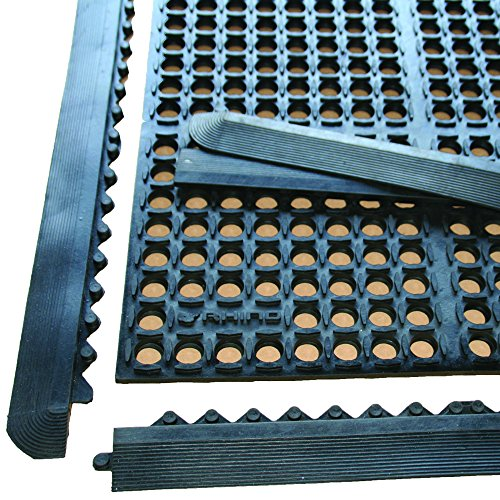 Modular Anti Fatigue Mat (Rhino Mats K3-3636B-Comp  K-Series Drain-Thru Anti-Fatigue Interlocking Mat With (4) Black Bevels)