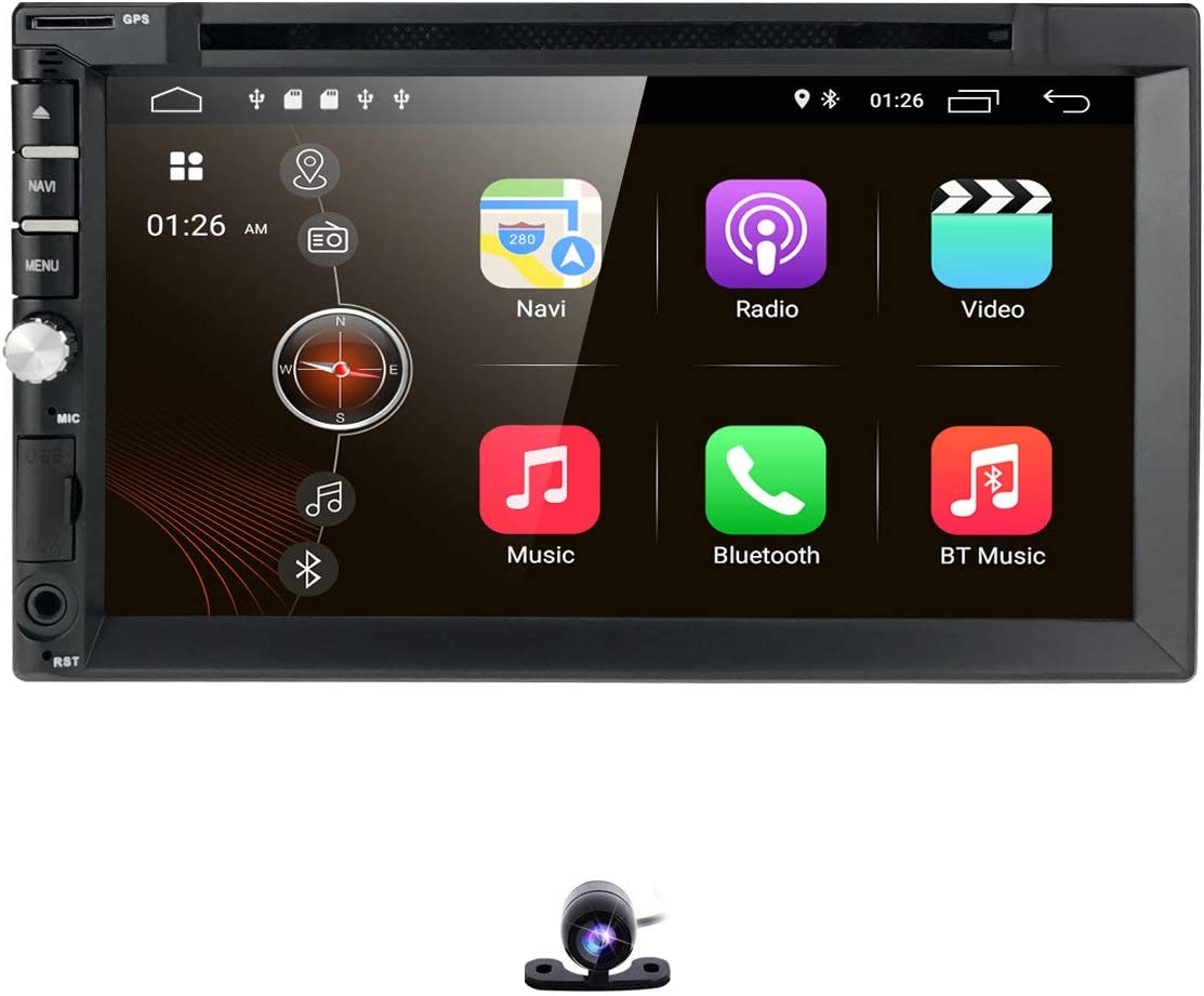 hizpo Universal 2 Din Car Auto Radio Android 10 Double Din DVD Player Head Unit with 7 inch Touch Screen Support GPS WiFi DAB+ Android/iPhone Mirrolink Steering Wheel Control Free Camera