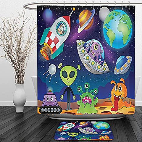 Vipsung Shower Curtain And Ground MatOuter Space Decor Planet Fantasy on Interstellar Terrain with Astronaut Cosmonaut and Aliens Decor MultiShower Curtain Set with Bath Mats - Terrain Wonder Wash