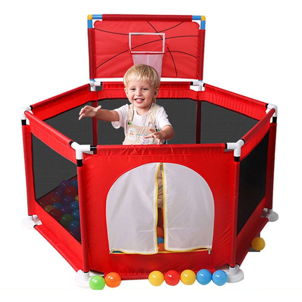 Red Play Pen with Basketball Hoop and Playmat for Children Plastic 6 Panel Blue Indoor Outdoor Garden Safety Activity Area